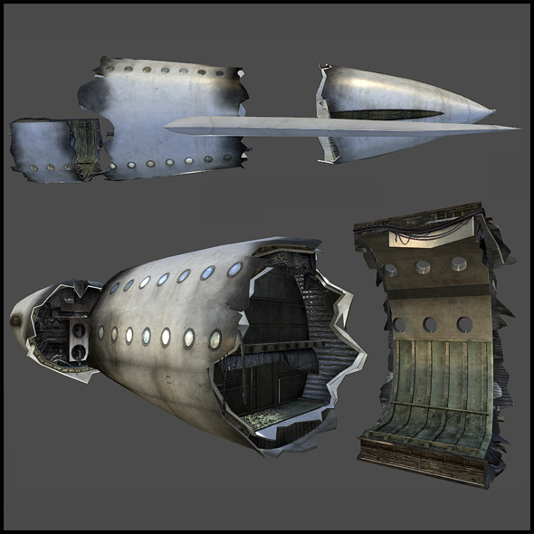 Airplane Crash Tail Parts - 3DOcean Item for Sale