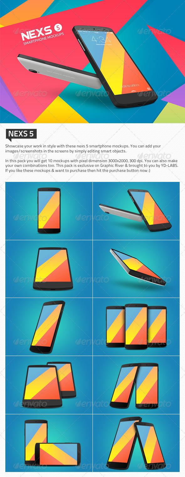 GraphicRiver Nexs 5 Smartphone Mockups 6208156