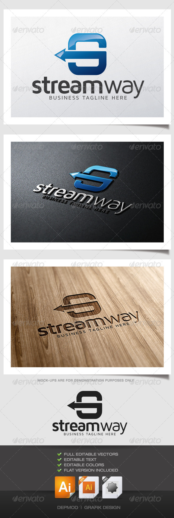 Stream Way Logo - Letters Logo Templates