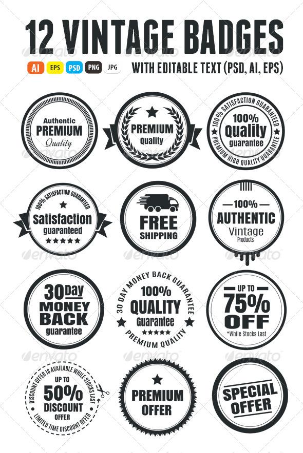 GraphicRiver 12 Vintage Ecommerce Badges 6208342