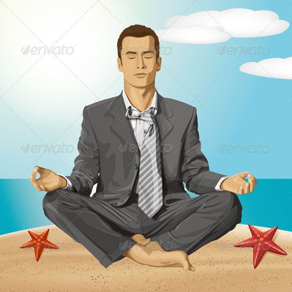 GraphicRiver Vector Businessman in Lotus Pose Meditating 6208444