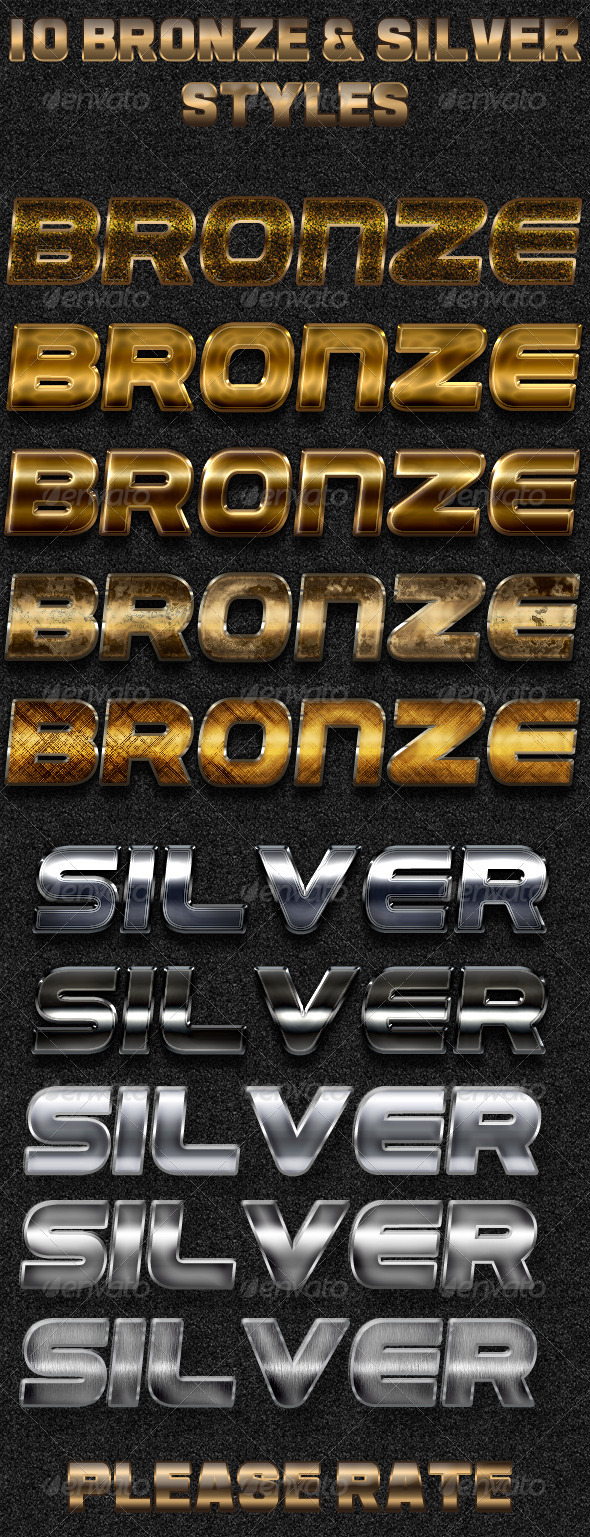 10 Bronze - Silver Styles - Photoshop Add-ons