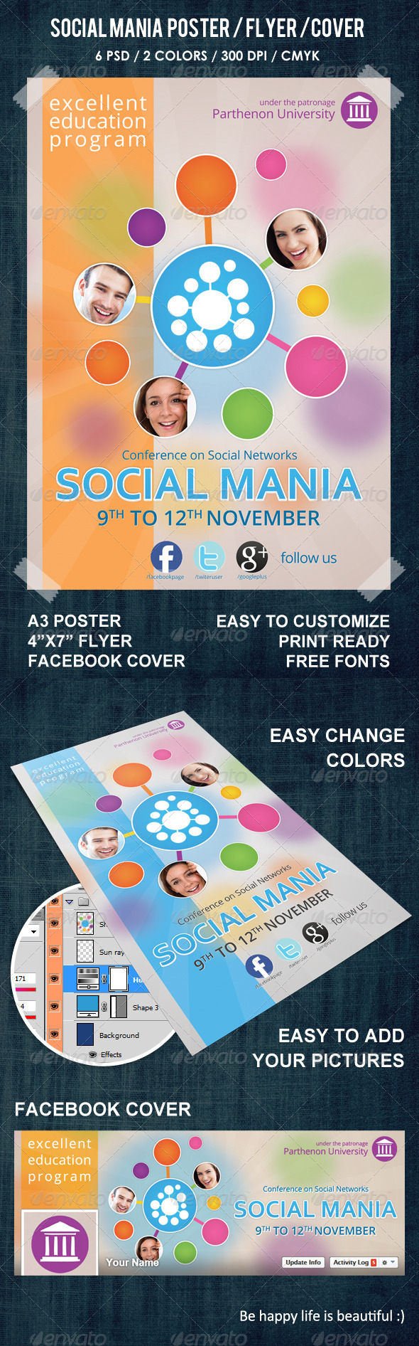 GraphicRiver Social Mania Poster Flyer Facebook cover 6102905