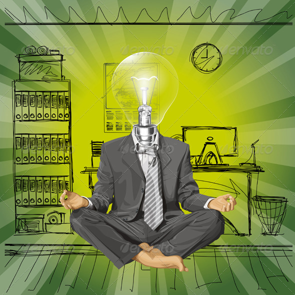 GraphicRiver Vector Lamp Head Businessman 6208458