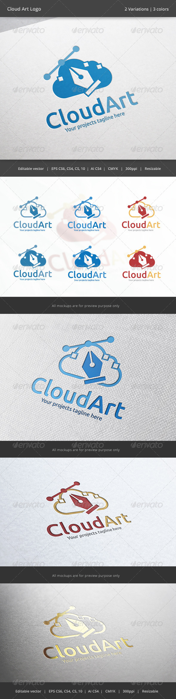 GraphicRiver Cloud Art Logo 6208545