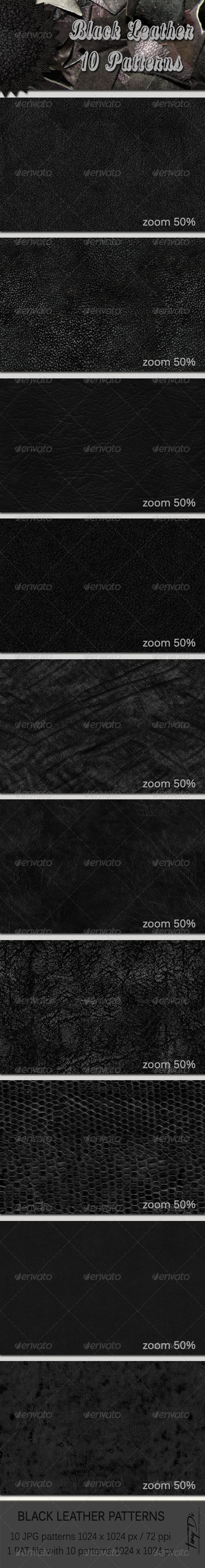 GraphicRiver 10 Black Leather Patterns 6208776