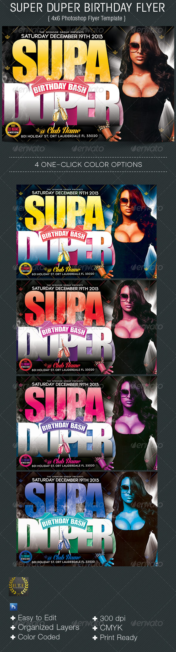 GraphicRiver Supder Duper Birthday Flyer 6209356