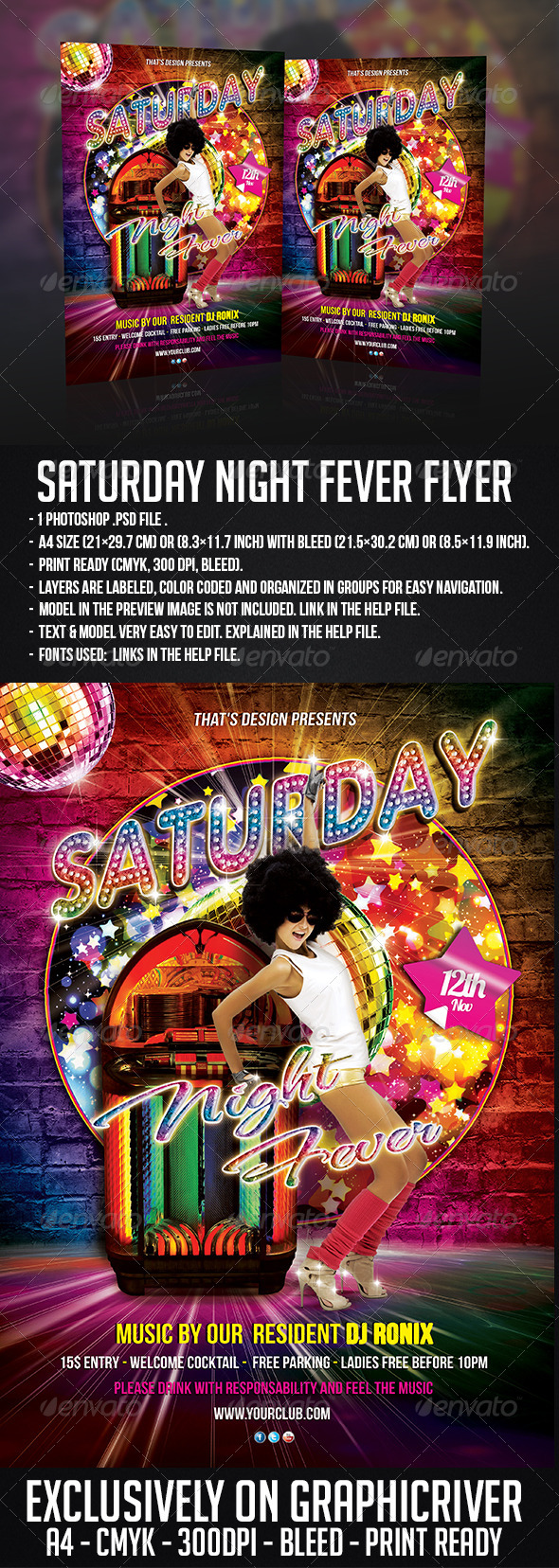 GraphicRiver Saturday Night Fever Flyer Template 6206813