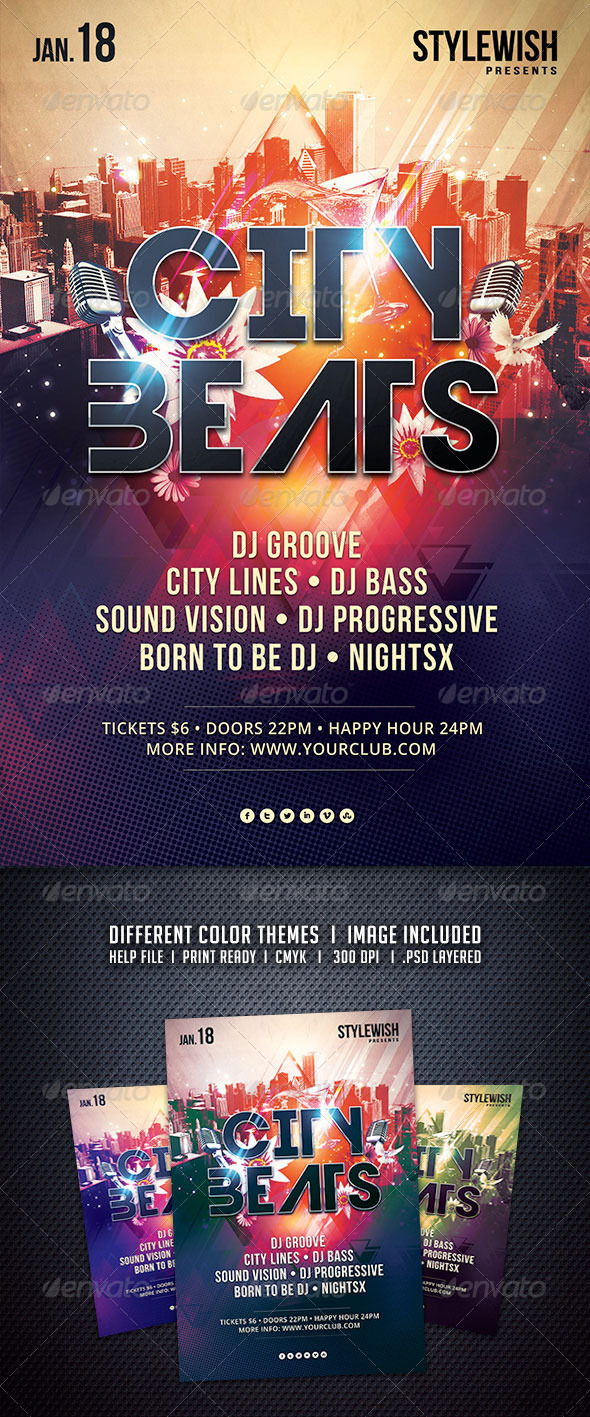 GraphicRiver City Beats Flyer 6209431