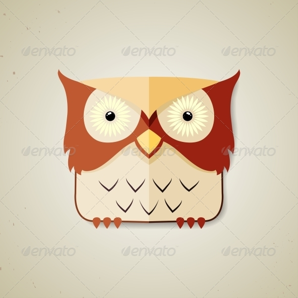 GraphicRiver Little Brown and Light Yellow Cartoon Owl 6209481