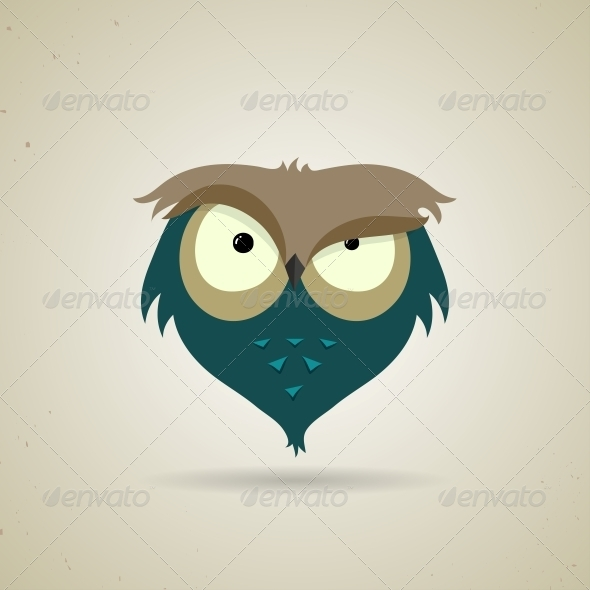 GraphicRiver Little Blue and Grey Cartoon Owl 6209575