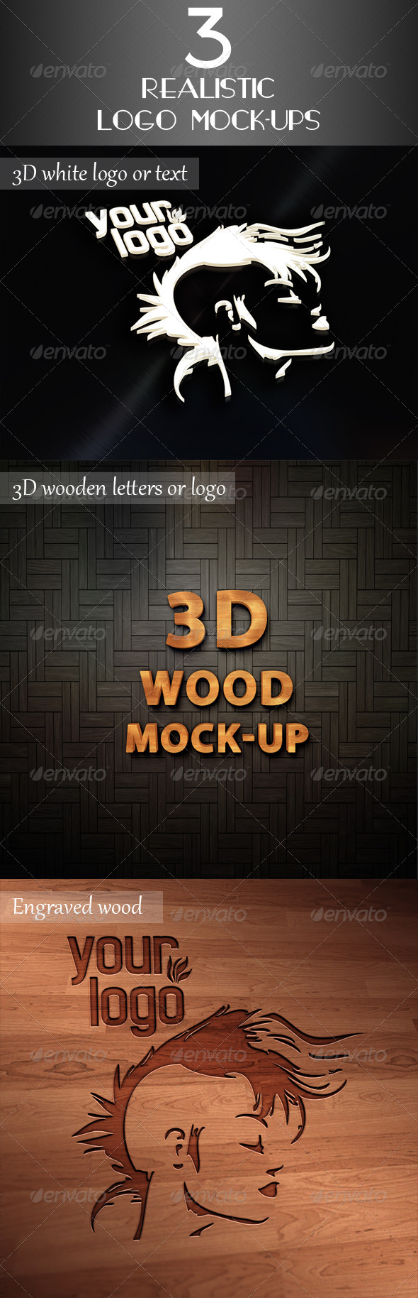 GraphicRiver 3 Realistic Logo Mock-Up 6058988