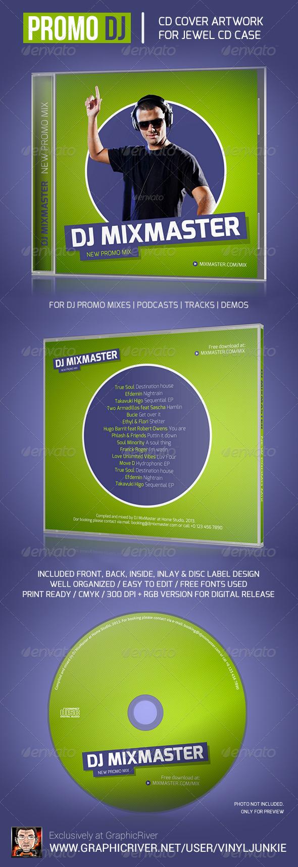 Promo DJ Mix CD Cover Artwork Template - CD & DVD Artwork Print Templates