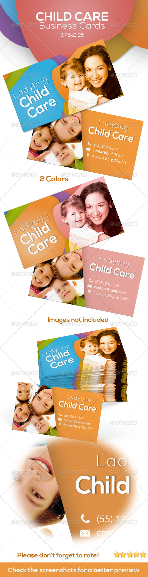 GraphicRiver Child Care Business Cards 6210058