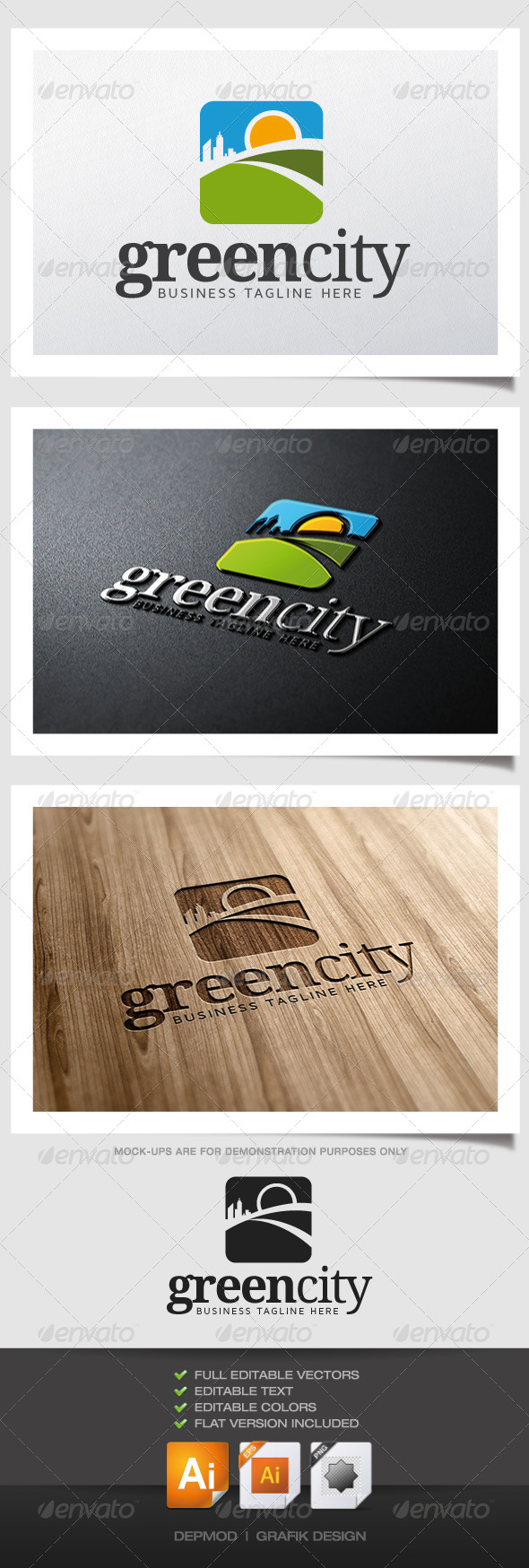 GraphicRiver Green City Logo 6210188