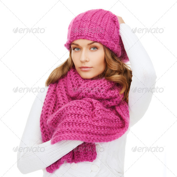 woman in pink hat and scarf - Stock Photo - Images