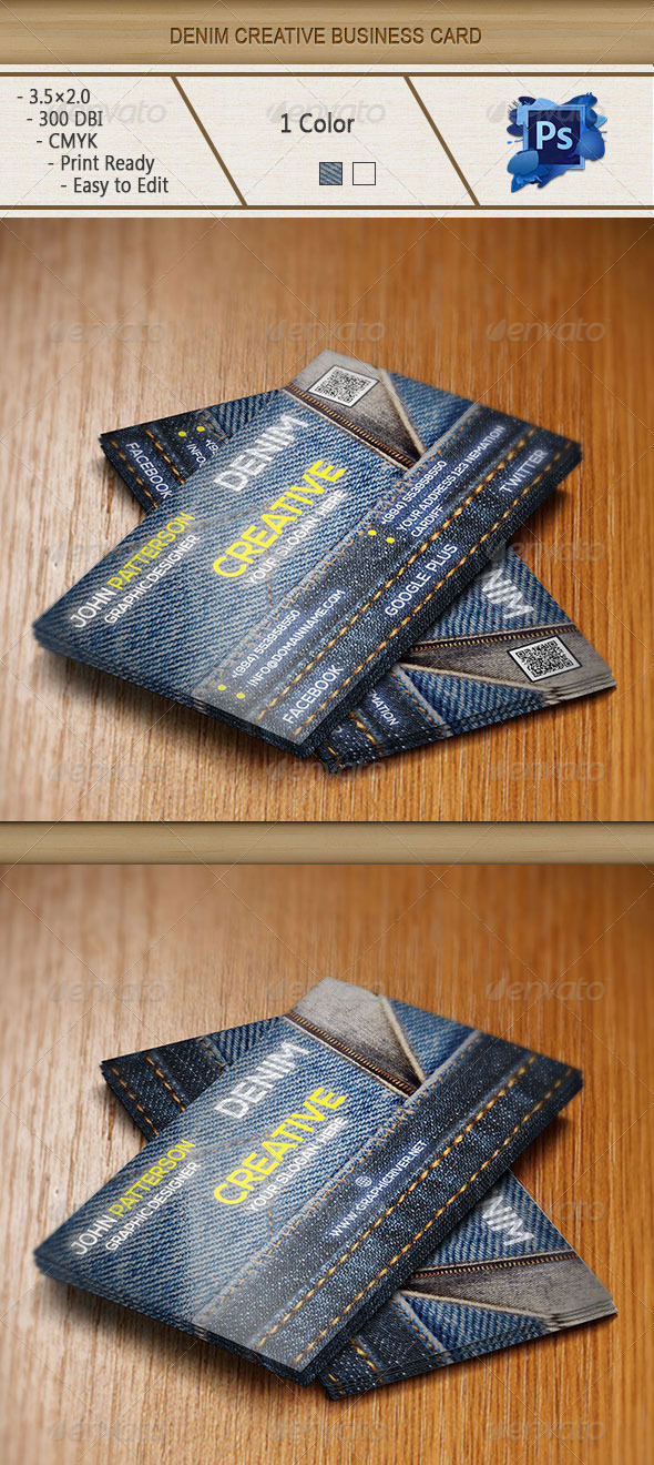 GraphicRiver Denim Creative Business card 6210499