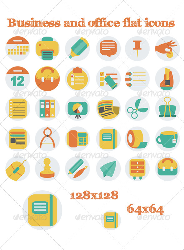 GraphicRiver Business And Office Flat Icons 6210605