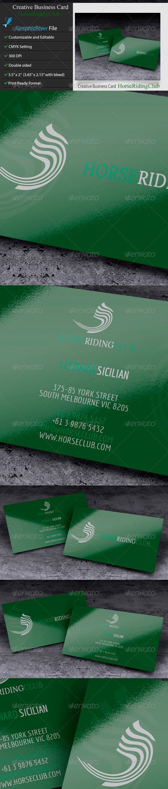 GraphicRiver Creative Business Card Horse Ridong Club 6210807