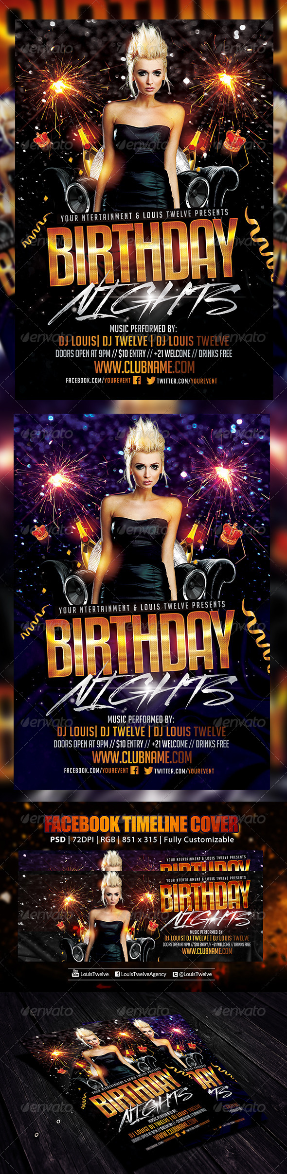 GraphicRiver Birthday Nights Flyer & FB Cover 6210932
