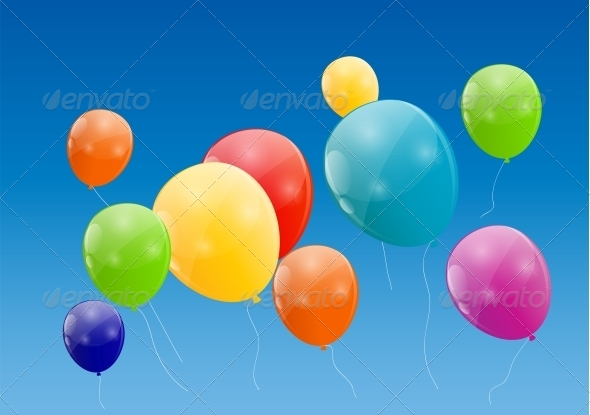 GraphicRiver Color Glossy Balloons Background 6210951
