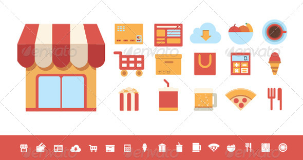 GraphicRiver Flat Icons Food and Shopping Elements 6211055