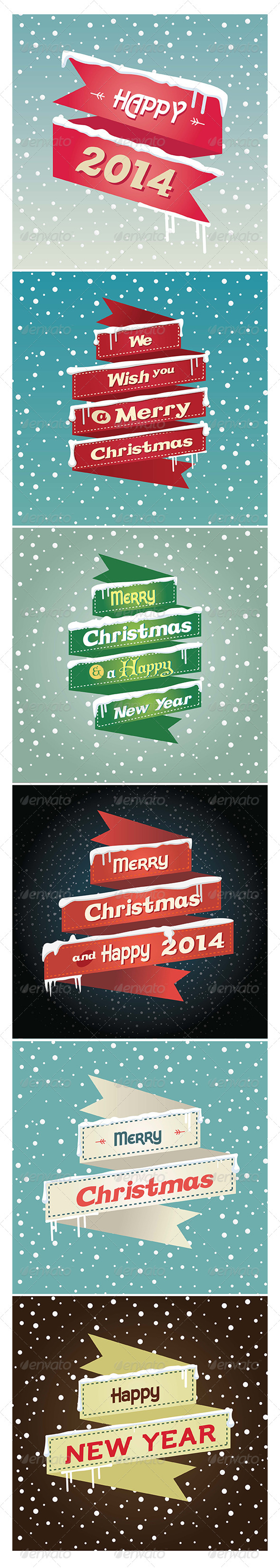 GraphicRiver Flat Robbons Christmas and Happy New Year 2014 6211201