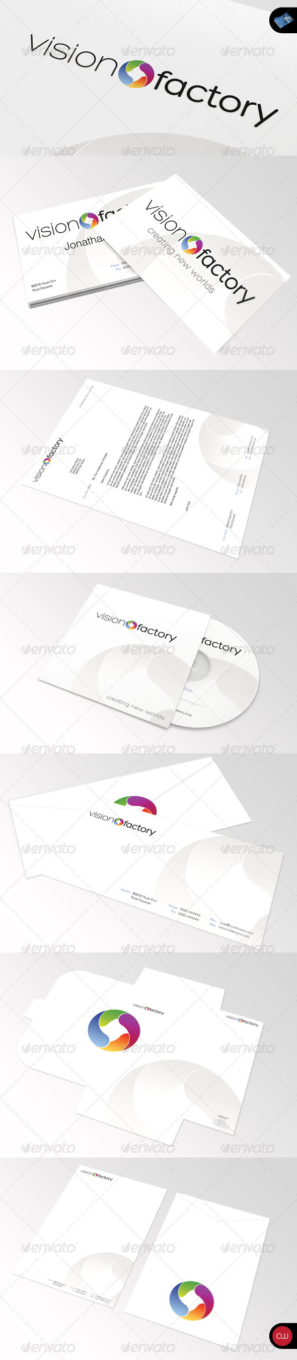 Stationary & Identity - Vision Factory - Stationery Print Templates