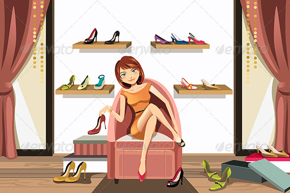 GraphicRiver Woman Shopping for Shoes 6211698