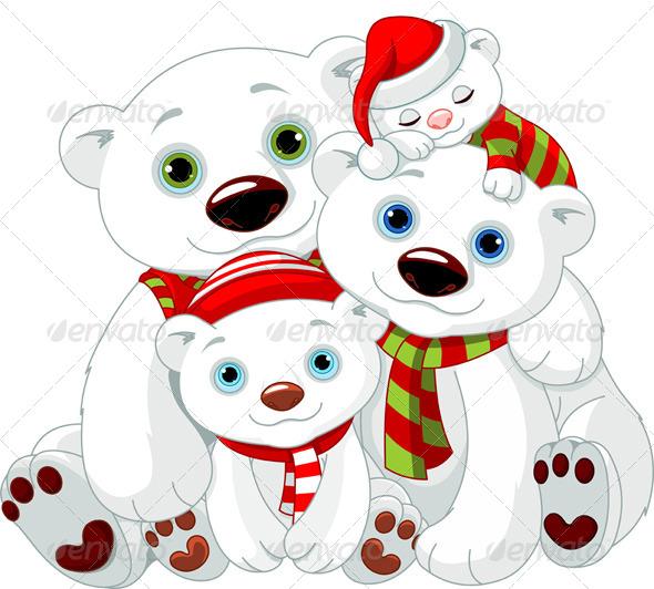 Christmas polar bear cartoon big polar bear family at