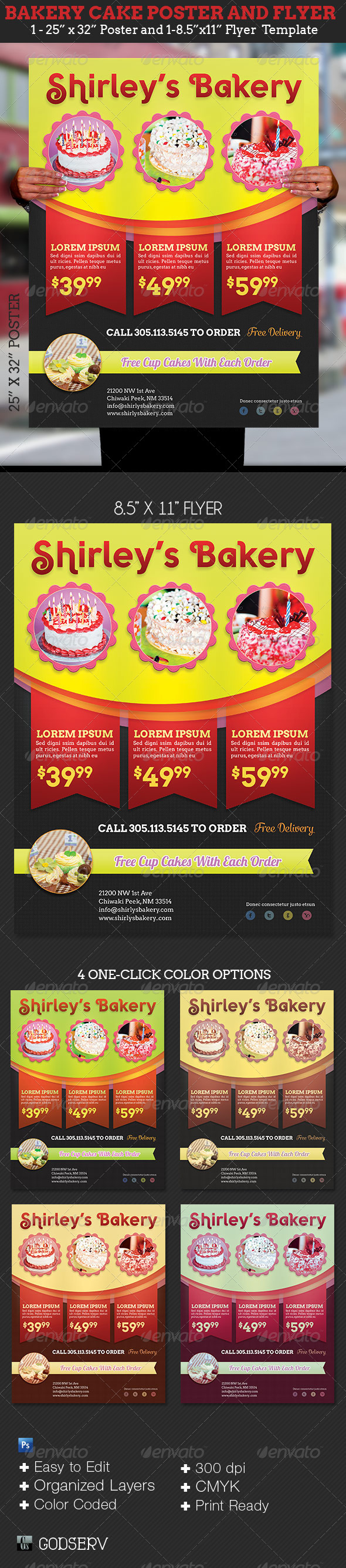 GraphicRiver Bakery Cake Flyer and Poster Template 6212148