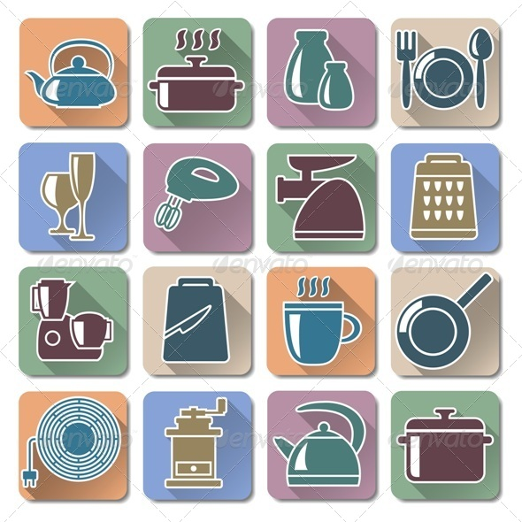 GraphicRiver Vector Kitchenware Retro Flat Icons 6212526