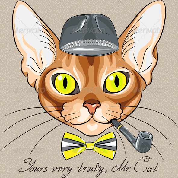 GraphicRiver Vector Cartoon Hipster Red Cat Abyssinian Breed 6212866