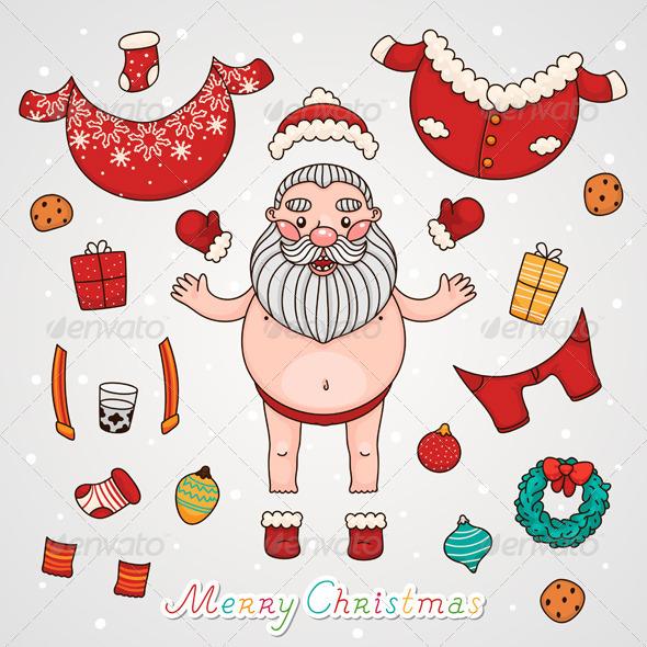 GraphicRiver Dress Up Santa Claus Christmas Set 6213094