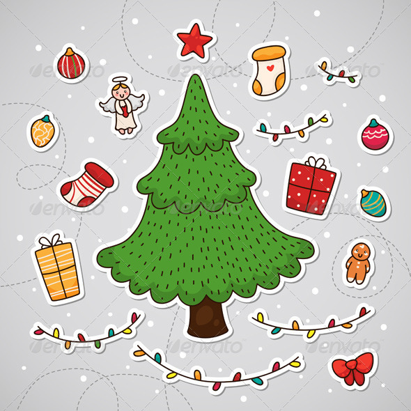 GraphicRiver Sticker with Christmas Tree 6213411