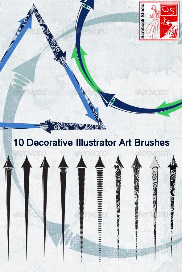 GraphicRiver 10 Illustrator Arrow Art Brushes 6213716