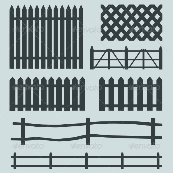 GraphicRiver Vector Set of Rural Fences Silhouettes 6213754