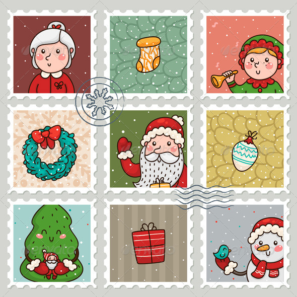 GraphicRiver Christmas and New Years Stamps 6213839