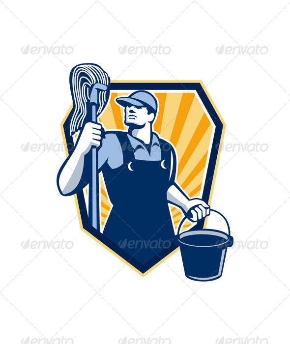 GraphicRiver Janitor Holding Mop Bucket Shield Retro 6213857