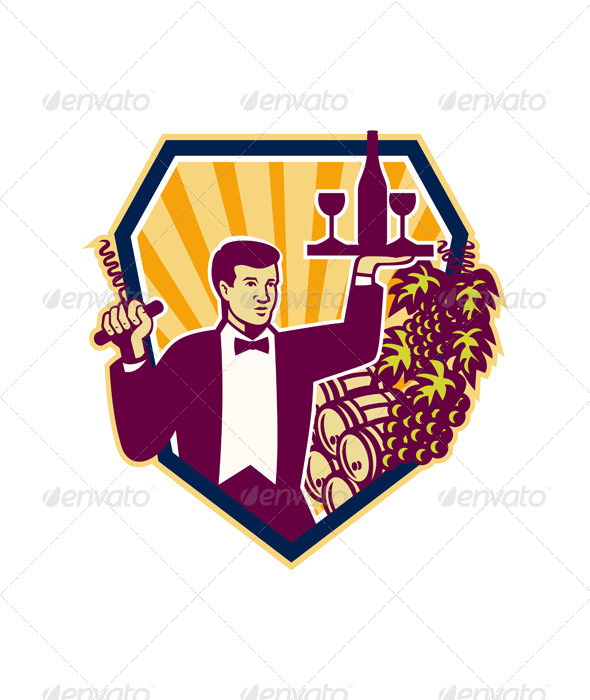 GraphicRiver Waiter Serves Wine Glass Bottle Shield Retro 6213864