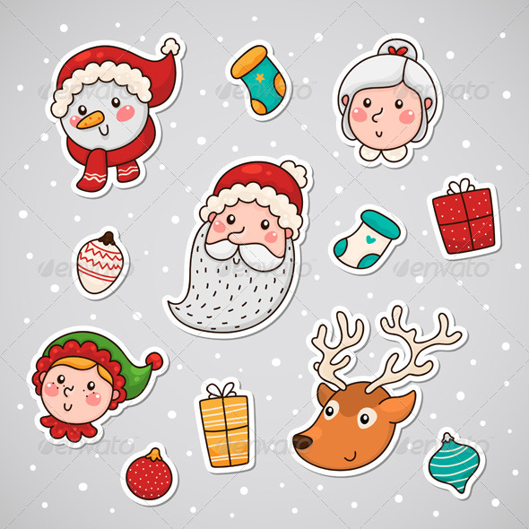 GraphicRiver Christmas and New year Sticky Face 6213871