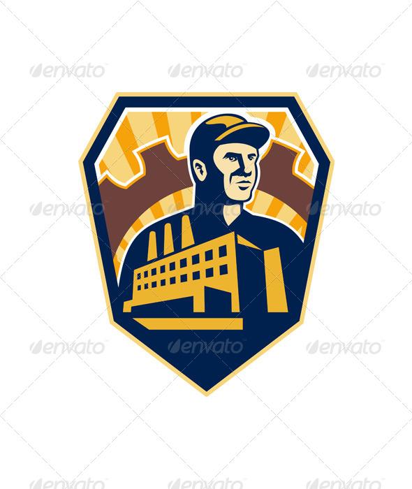 GraphicRiver Factory Worker Building Cog Shield Retro 6213872