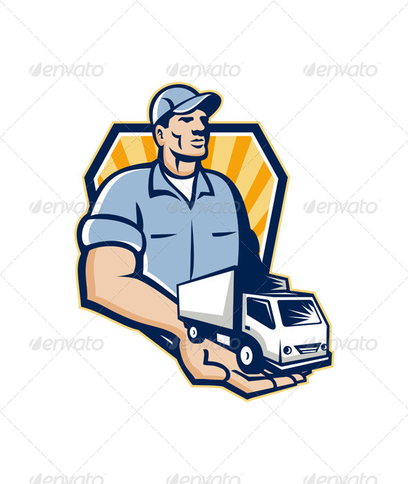 GraphicRiver Delivery Man Handing Removal Van Crest Retro 6213881