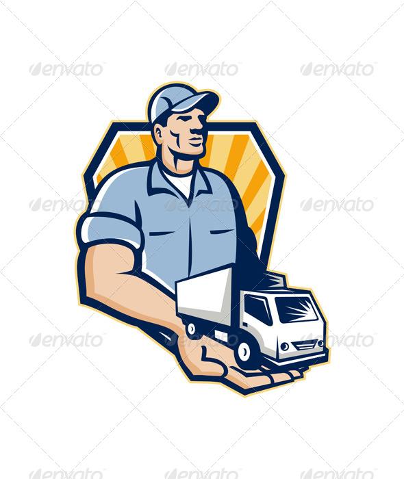 Delivery Man Handing Removal Van Crest Retro
