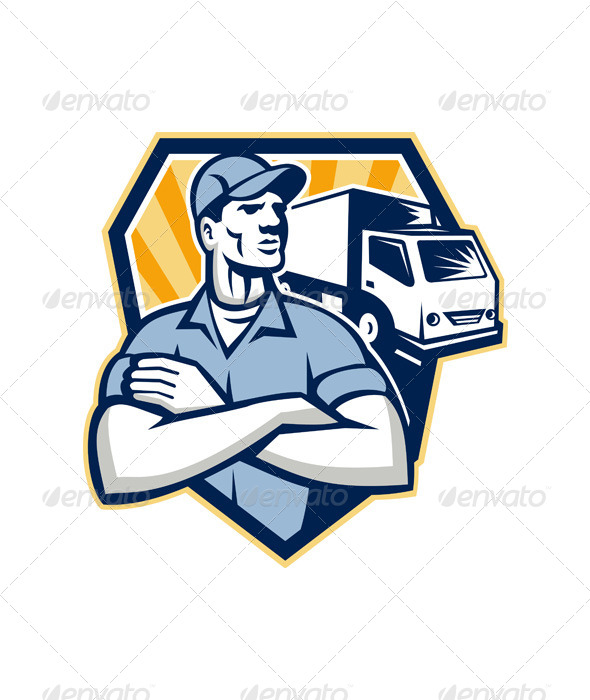GraphicRiver Removal Man Moving Delivery Van Crest Retro 6213890