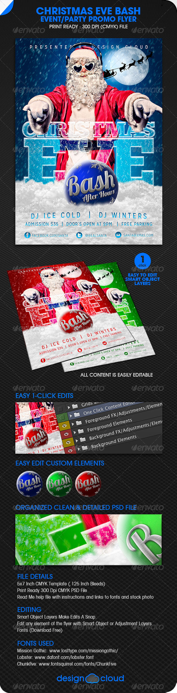 GraphicRiver Christmas Eve Bash Party Event Flyer 6214010