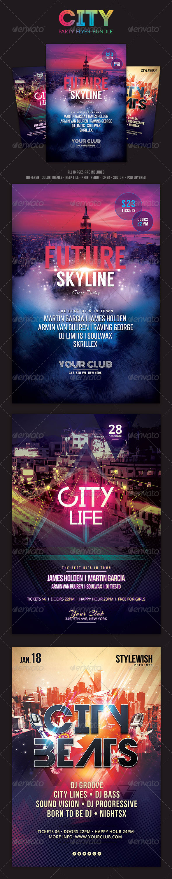 GraphicRiver City Party Flyer Bundle 6214142