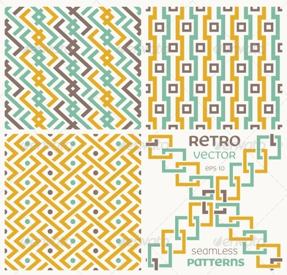 GraphicRiver Set of Vector Seamless Textures in Retro Style 6214973