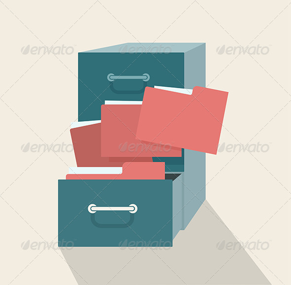 Metal Filing Cabinet with Red Folders