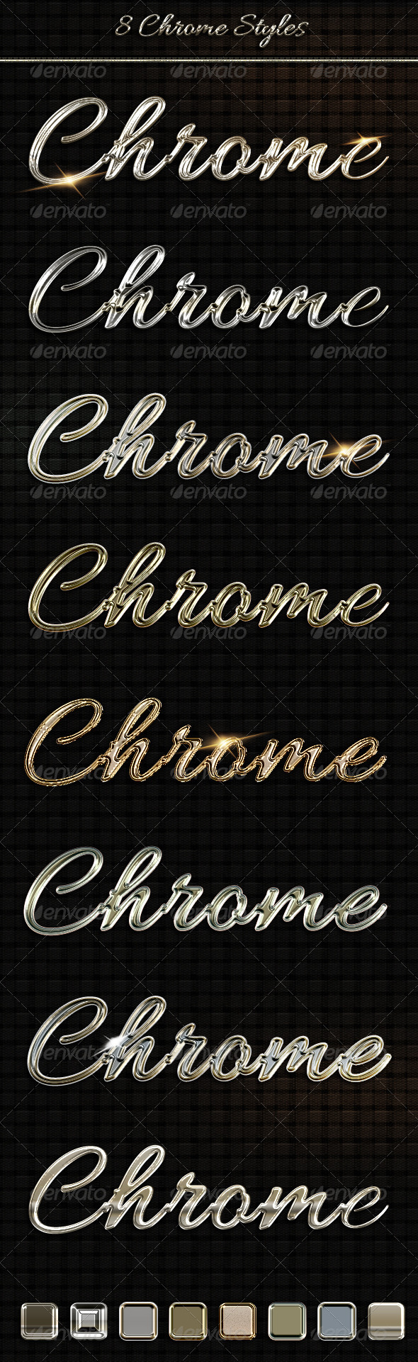 8 Luxury Chrome, Metal  Text Styles - Text Effects Styles